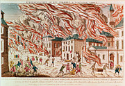 Historical Buildings Painting Posters - Representation of the Terrible Fire of New York Poster by French School