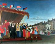 1907 Painting Prints - Representatives of the Forces greeting the Republic as a Sign of Peace Print by Henri Rousseau