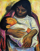 Rivera Mixed Media Framed Prints - Reproduction of Diego Riveras- Mother and Child Framed Print by Duwayne Washington
