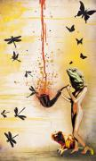 Dragonflies Mixed Media - Reptilian Feminality Distorts the Primate Regime by Iosua Tai Taeoalii