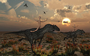 Digitally Generated Image Art - Reptoids Race Allosaurus Dinosaurs by Mark Stevenson