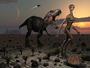 Companion Digital Art Metal Prints - Reptoids Tame Dinosaurs Using Telepathy Metal Print by Mark Stevenson