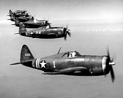 Fighter Plane Photos - Republic P-47 Thunderbolts, Circa 1943 by Everett