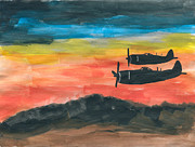 Plane Paintings - Republic P-47 Thunderbolts by R Kyllo