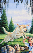 Illustration Painting Originals - Rescue Dog by Hanne Lore Koehler
