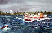 Coast Guard Painting Posters - Rescue Poster by Lawrence Welegala