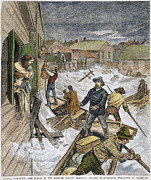 Rescue Posters - Rescuing Flood Victims, 1881 Poster by Granger