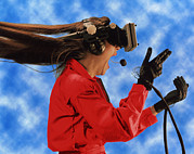 Headset Framed Prints - Researcher Wearing Virtual Reality Headset Framed Print by Nasa