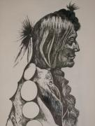 Indian Tribal Art Drawings - Reservation by Leslie Manley