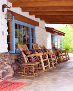 Rocking Chairs Photo Prints - RESERVED SEATING Palm Springs Print by William Dey