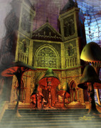 Surreal Fantasy Gothic Church Posters - Residence of the Mushroom Folk Poster by Jutta Maria Pusl