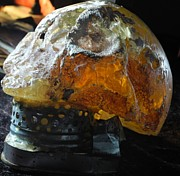 Image Sculpture Posters - Resin Skull Golden Glow Poster by Franco Barresi