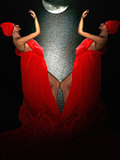 Lady In Red Prints - Resonating Admiration Print by Lourry Legarde