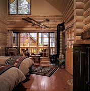 Cabin Window Posters - Resort Log Cabin Interior Poster by Robert Pisano
