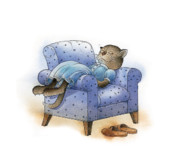 Cat Drawings Prints - Rest after Breakfast Print by Kestutis Kasparavicius
