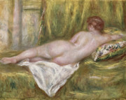 Reclining Metal Prints - Rest after the Bath Metal Print by Pierre Auguste Renoir
