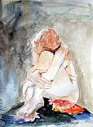 Nude Woman Drawings - Rest by Mindy Newman