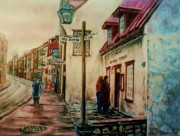 Couples Paintings - Restaurant Aux Anciens Canadiens Quebec City by Carole Spandau