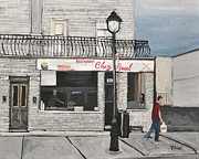 City Of Montreal Painting Framed Prints - Restaurant Chez Paul Pointe St. Charles Framed Print by Reb Frost