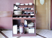 Cupboard Prints - Restaurant Dishware Cupboard Print by Magomed Magomedagaev