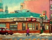 Jewish Montreal Paintings - Restaurant Greenspot Deli Hotdogs by Carole Spandau