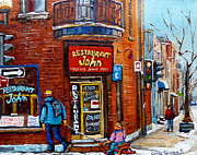 Greasy Spoon Prints - Restaurant John Montreal Print by Carole Spandau