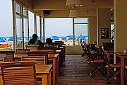 Tel Aviv Photos - Restaurant on a beach in Tel Aviv Israel by Zalman Lazkowicz