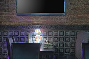Visual Aid Prints - Restaurant Table With Lamp Under Tv Print by Magomed Magomedagaev