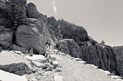 South Kaibab Trail Prints - Resting at Ooh Aah Point BW Print by Julie Niemela