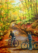 Bicycles Paintings - Resting Awhile by Carole Powell