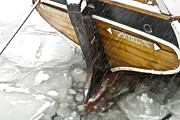 Wooden Ship Prints - Resting in Ice Print by Heiko Koehrer-Wagner