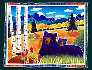 Bear Cub Framed Prints - Resting in the Aspen Framed Print by Harriet Peck Taylor