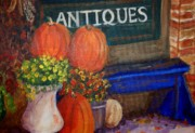 Picturesque Painting Posters - Resting Pumpkins Poster by Debbie Waitkus