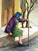 Elderly People Paintings - Resting by Sam Sidders