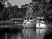 Shrimp Boat Prints - Resting Shrimp Boats Print by Michael Thomas