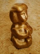 Psyche Sculptures - Resting Woman Gold Statue  by Niklas Rabb