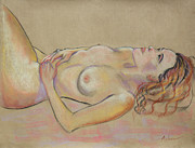 Painter Drawings Prints - Resting Woman Looking Upward and Inward Print by Asha Carolyn Young