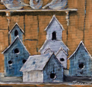 Original  By Artist Paintings - Retired Bird Houses by Prankearts Fine Arts by Richard T Pranke