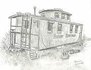 Caboose Drawings Posters - Retired Caboose Poster by Sharon Woods
