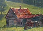Old Barn Paintings - Retired Farm Tractor by Len Stomski