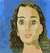 Originalart Framed Prints - Retrato de mi Hija M. Jose Framed Print by Carlos Camus