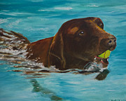 Dog Swimming Paintings - Retriever Play by Roger Wedegis