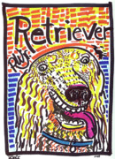 Mixed Media Drawings Prints - Retriever Print by Robert Wolverton Jr