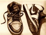 Basketball Drawings - Retro 1 by Dallas Roquemore