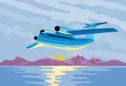 Fuselage Posters - Retro Airliner flying  Poster by Aloysius Patrimonio