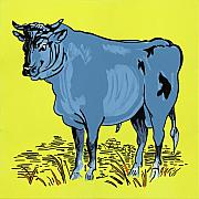 Cow Mixed Media Prints - Retro Bull Print by Sonja Olson