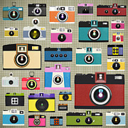 Wallpaper Digital Art Metal Prints - Retro Camera Pattern Metal Print by Setsiri Silapasuwanchai
