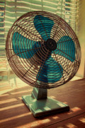 Blue And Brown Prints - Retro Fan Print by Tony Grider
