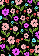 Motif Digital Art Prints - Retro Florals Print by Louisa Knight