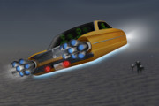Hot Rod Digital Art - Retro Flying Object 1 by Mike McGlothlen